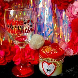 Wine 🍷 is my Valentine ❤️ glass candle set